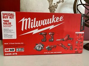 M18 Milwaukee 7 TOOL COMBO KIT 2695-27S Brand New.