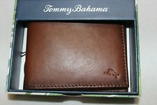 Tommy Bahama Men's Tan Genuine Leather Passcase Bifold Wallet $68 NIB