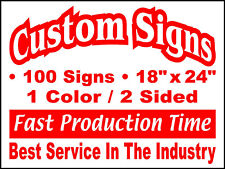 100 18x24 Double Sided Custom Coroplast Yard Signs