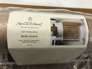 Hearth & Hand Magnolia Brown Craft Paper And White Metal Memo Board Wall Mount