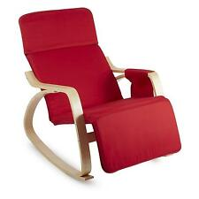 RED 68x90x97 cm ROCKING NURSING CHAIR OUTDOOR HOME ROOM RECLINING BIRCH PLYWOOD