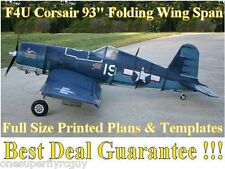 "F4U Corsair 93"" WS Giant Scale RC Airplane Full Size PRINTED Plans & Templates"