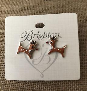 Brighton Santa's Reindeer Rudolph Mini Post Earrings NEW NWT