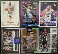Lot of (6) Tony Parker, Including Prizm purple /75, 2016 Select courtside silver