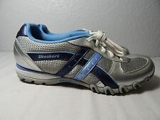 WOMEN'S SKECHERS - Size 6 M - Leather / Textile Tennis Shoe Silver, Blue & Black