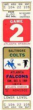 1969 BALTIMORE COLTS @ ATLANTA FALCONS FULL TICKET STUB - JOHNNY UNITAS