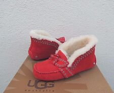 UGG POLER LIPSTICK RED SHEEPSKIN CUFF MOCCASIN SLIPPERS, US 12/ EUR 43 ~NEW