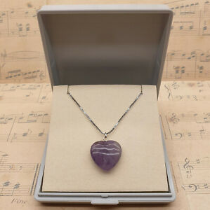 Vintage 925 Sterling Silver and Purple Quartz Heart Pendant Necklace with Box