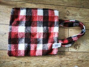 NEW! SALE! Matalan Papaya Fleece Check Mini Tote Bag
