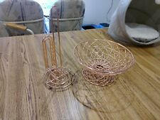 Wire Fruit Bowl And Paper Towel Holder Rose Gold