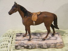 "VINTAGE COLLECTIBLE  CAST IRON HORSE ENGLISH SADDLE on MARBLE BASE 5"" X 5 1/4"""