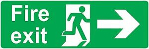 sticker fire exit right office door buiding emergency self adhesive vinyl decal