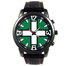 Devon UK County Flag Mens Style Black Silicone Strap Quartz Wrist Watch S582F