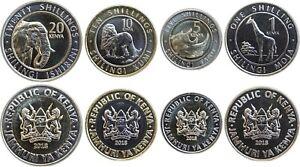 KENIA/KENYA (4) 1+5+10+20 Shillings 2018 UNC 3 x Bimetall/New Coin Family