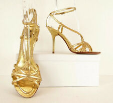 ALDO Gold Leather Snake Open Toe Ankle Strap Heels Pumps Sandals 37 / 6.5 (S510)