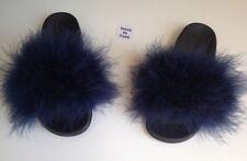 Womens Handmade Sliders Big Fur Fluffy Oversized Navy  Size 3,4,5,6,7UK