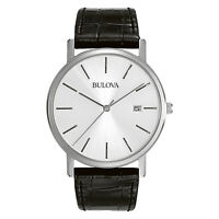 Bulova Men's 96B104 Quartz Silver-Tone Case Black Leather Strap 37mm Watch