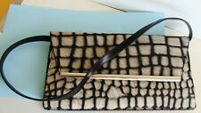 Kate Landry Black Patent Leather/ White Hair Clutch Shoulder Evening Bag ~ NICE