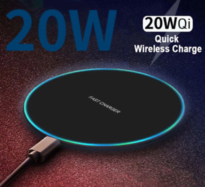20W Qi Wireless Charger fast wirless for iPhone 12 11 Pro Max XR SE XS & Samsung