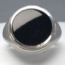 "925 STERLING SILVER ROUND ""ONYX"" PATTERNED SIGNET RING   SIZE ""S½""   064A"