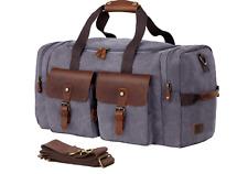 Gray Brown Genuine Leather Canvas Travel Shoulder Handbags Luggage Duffel Bag