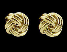 9ct Gold Plated on Silver Knot Stud Earrings Small Medium Large In Gift Box