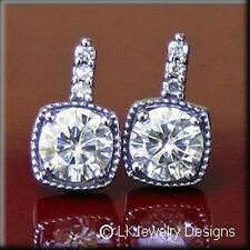 Ghi Antique Pave Leverback Earrings 3.10Ct Moissanite Round Forever One