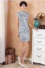 white/blue Chinese Women's cotton mini dress Cheongsam size S-XXL 2330-1