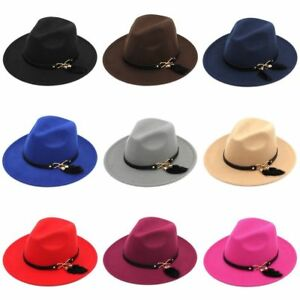 Women Stiff Wide Brim Fedora Hat Wool Blend Panama Cap Feather Tail Leather Band