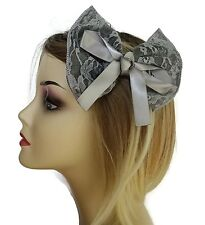 Beautiful Large Silver Grey Lace & Satin Bow Hair Grip Beak Clip 14 cms Wide