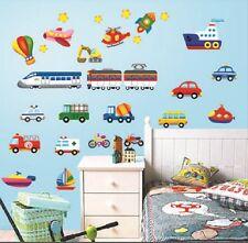 Airplane Train Car Truck Boat Rocket Bulldozer Removable Wall Sticker Kids Boys