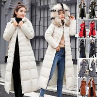 Hot Women Winter Parka Puffer Fur Collar Hooded Quilted Jacket Warm Coat Outwear