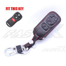Leather Case Cover Keyfob For Nissan Armada Versa Titan 3 Buttons Remote Key