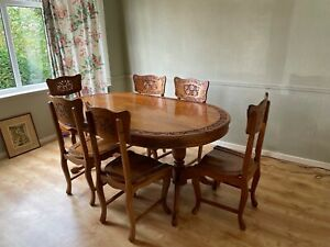 Beautiful oval Indian style wood inlaid and carved 6 Seater Dining Table