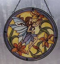 "Suncatcher Hanging Painted Glass & Metal Fairy NEW 10 1/2"" diameter C"