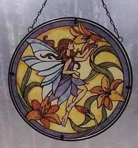 "Suncatcher Hanging Painted Glass & Metal Fairy NEW 10 1/2"" diameter C"