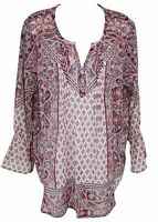Style & Co Womens Ladies Purple Floral Long Sleeve Peasant Blouse Top Size 1X