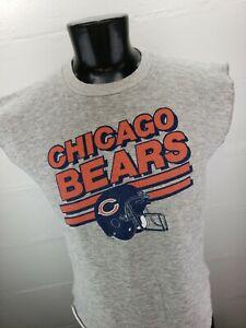 Vintage 80's 50/50 Chicago Bears Sweatshirt Sleeveless Big Logo Made in USA XL