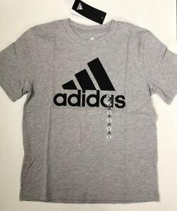NWT adidas Youth Boys Sz 8 T Shirt Tee Short Sleeve Logo Top Grey 90% Cotton New