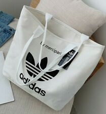 White Adidas Tote Bag - New Women's Trendy Casual  Relaxed Everyday Shoulder Bag