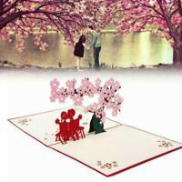 3D Grußkarte Kirschblüten-Liebes-Segen-Karten-Hochzeits-Einladungs-Karte K8 B0I2