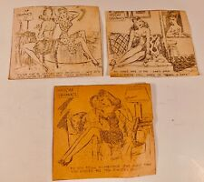 3 Vintage ASCAP GRAPHICS Cheesecake Newspaper Cartoons, 1940's - FREE SHIPPING
