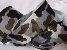 "Grosgrain Printed Ribbon *Grey, Brown & Black Camo* 7/8"" Wide -5 Yds -Hair Bows!"