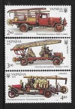 UKRAINE 2016 FIRE ENGINES 3v Mint Never Hinged