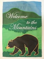 """""""Welcome to the Mountains"""" Black Bear in a Foot Hill Forest applique Garden flag"""