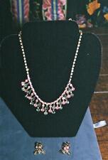 Vintage 1950s Pink Green Julianna Style Rhinestone Demi Parure Necklace Earrings
