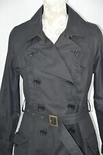 Old Navy Medium Black Long Trench Coat Belt Double Breast Button Full Length