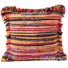 100% Cotton Indian Cushion Cover Handmade Chindi Rug Making Pillow Rag Vintage