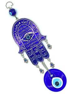 Silver Hanging Hamsa Evil Eye Home Decoration Glass Lucky Eye Talisman #5182