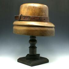 Antique Millinery Wood Brim Hat Mold Block Form w/ Custom Display Stand